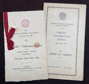 Amateur Athletic Association 1930 Jubilee Celebration Dinner Menu & Table Plan