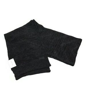 Calvin Klein Mens Black Knit Textured Fall Rectangle Scarf One Size
