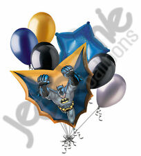 7 pc Batman in Flight Balloon Bouquet Super Hero Theme Happy Birthday Marvel