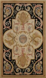 Transitional Savonnerie Oriental Hand-knotted Area Rug Wool Foyer Carpet 4'x6'