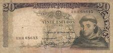 BILLET BANQUE PORTUGAL 20 ESCUDOS 1964 SANTO ANTONIO état voir scan 645