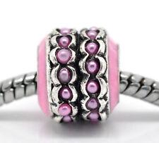 Pink Enamel Lavender Pearl Spacer Bead Gift for Silver European Charm Bracelet