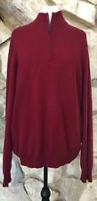 Sofia Cashmere Men's 100% Cashmere Half Zip Pullover Sweater Darker Red Size XL