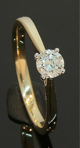 9 Carat Yellow Gold Diamond Solitaire Ring 0.33ct Size N 9CT (80.20.130)