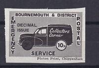 1971 STRIKE MAIL BOURNEMOUTH & DISTRICT POSTAL SERVICE 10p DECIMAL STAMP MNH