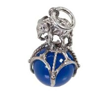 VINTAGE SILVER ELEPHANT ON BALL BLUE AGATE FOB CHARM