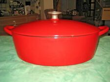 Vintage Red Enamel Cast Iron, 5 Quart, Dutch Oven, Roaster Oval Enamelware