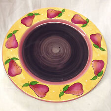 "ESSEX COLLECTION BOIS D'ARC TUTTI FRUTTI DINNER PLATE 10 3/8"" PINK RED PEARS"