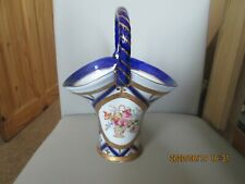 Roselle Occ & Co Staffordshire Hand Painted Porcelain Basket 9.5 Inches