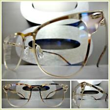 CLASSIC VINTAGE 50's RETRO Style Flat Clear Lens EYE GLASSES Gold Fashion Frame