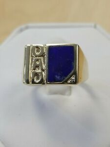10k Yellow Gold DAD Ring with  custom cut Natural Blue Lapis, size 11