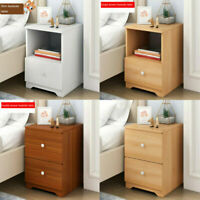 2 Drawers Nightstand Storage Wood End Table Bedside Organizer Modern Furniture
