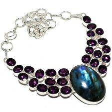 "Labradorite, Amethyst Gemstone Handmade 925 Silver Jewelry Necklace 18"" AQ-237"