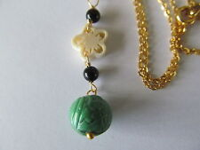 VINTAGE CARVED GREEN PEKING BEAD w/ONYX BEADS & CRAVED CELLULOID GOLD NECKLACE