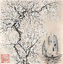 Vietnamien aquarelle sur papier de riz-Spring Blossom & BATEAUX-signé