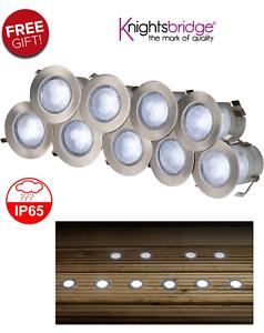 KNIGHTSBRIDGE KIT16W IP65 230V WHITE LED DECKING LIGHT KIT PACK OF 10