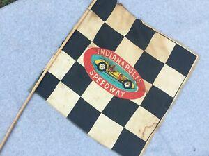 "Indianapolis Speedway Vintage Checker Racing Flag 1950's 16"" Rayon Japan #1 Car"