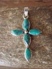Zuni Indian Jewelry Sterling Silver Chrysocolla Cross Pendant Jonathan Shack