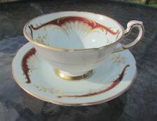 Paragon mint green Art Nouveau design red & gold tea cup and saucer crack