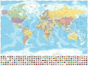 (LAMINATED) MAP OF THE WORLD POSTER 61x91cm LARGE FLAGS WALL PRINT ART TRAVEL