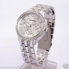 Para Mujer Moda Geneva Crystal Pulsera Reloj De Pulsera De Plata De Diseñador Estilo
