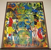 Mid-Century 70's Pop Art Airbrush and oil on canvas Framed unsigned