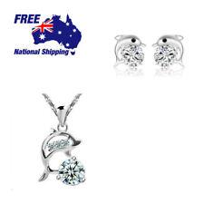 Dolphin Sterling Silver Crystal Rhinestone Zircon Pendant Earrings Set