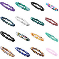 Natural 8mm Semi-Precious Gemstones Healing Crystal Stretch Bead Bracelet Unisex