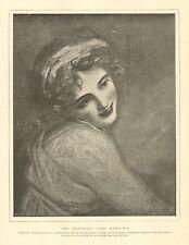 The Beautiful Lady Hamilton, by Romney, Portrait, Vintage 1892 Antique Art Print