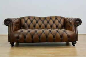 Lewis Montgomery 2 Seater Chesterfield Sofa Brown Antique leather