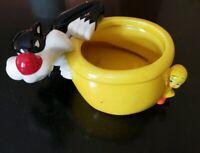 Looney Tunes Tweety Sylvester Ceramic Ashtray Planter Bowl Desk Decor Warner Bro