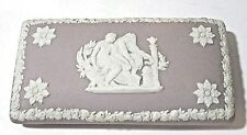 GRAY PURPLE WEDGWOOD BOX MADE IN ENGLAND TWO MEN TALKING FLOWERS