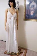 JONQUIL by DIANE SAMANDI VTG WHITE SATIN & CHIFFON LACED Nightgown size L large