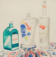 Stillleben. Drei verschiedene Flaschen auf einer Decke, 20. Jh., Aquarell