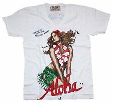 Dom Rebel T-Shirt Hommes Blanc White Aloha Taille M