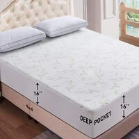 Waterproof Mattress Protector Bamboo Hypoallergenic Breathable Fitted Bed Cover