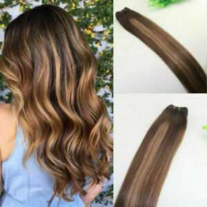 12A RUSSIAN 100g Human Hair Extensions 4/27#/4# Blonde BALAYAGE Ombre  STRAIGHT