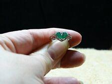 Brazilian Emerald C.Zircon Split Heart Ring Platinum Over 925 SS Size 5