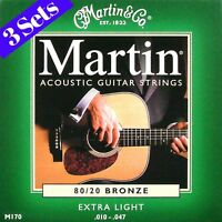 3 SETS OF MARTIN ACOUSTIC GUITAR STRINGS EXTRA LIGHT 10-47
