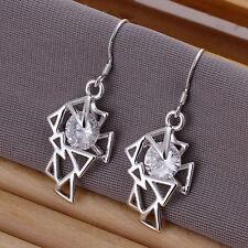925 Silver Plated & Crystal Geometric Drop Earrings   Stunning Ladies Girls Gift