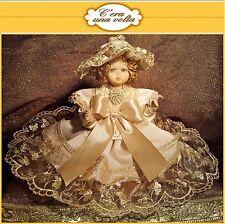 Bambola 25cm c'era una volta bambole doll doily macramè organza seta capodimonte