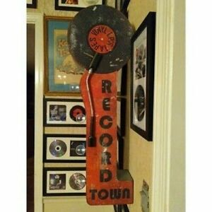 Vintage Old Fashioned Retro Turntable Record Sign Two-Sided LED Lighted Marquee