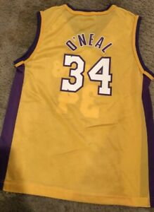 Champion Los Angeles Lakers #34 Shaquille Oneal Jersey,Youth L (14-16)