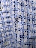 FACONNABLE BUTTON FRONT DRESS SHIRT Sz Mens 16 / L Blue Plaid Long Sleeve