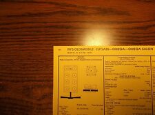 1975 Oldsmobile Omega & Cutlass EIGHT Series Models 260 CI V8 2BBL Tune Up Chart