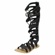 F0R938 SPOT ON LADIES OPEN TOE LACE ZIP UP FLAT SUMMER LONG GLADIATOR SANDALS