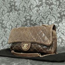 Rise-on CHANEL Brown Caviar Skin Leather W Frap Chain Shoulder bag Handbag #1990