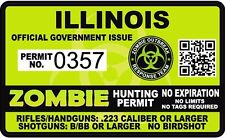 Illinois Zombie Hunting Permit Sticker Die Cut Decal outbreak response team