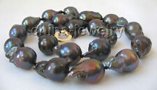 "P2829-AAA 17.5"" 23mm black Reborn Keshi baroque freshwater pearl necklace -14k"