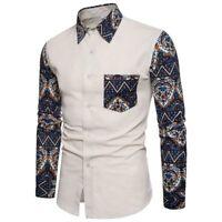Dress shirt luxury stylish t-shirt tops long sleeve casual men's floral formal